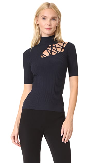 Cushnie Et Ochs Short Sleeve Mock Neck Top with Lacing