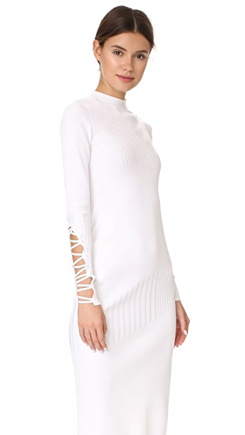 Cushnie Midi Dress with Fractured Lacing