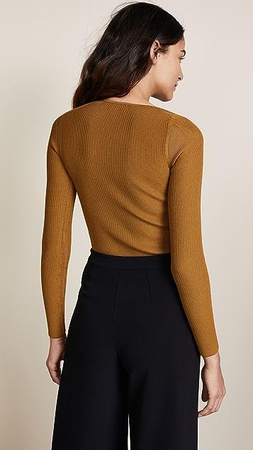 Cushnie Vivian Long Sleeve Asymmetrical Bodysuit