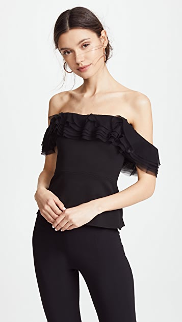 Cushnie Et Ochs Kahlo Strapless Top with Layered Chiffon Ruffles