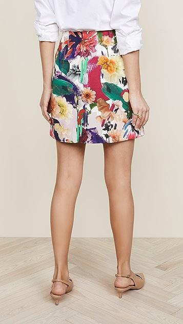 Cushnie Et Ochs Celina High Waisted Surrealist Floral Miniskirt