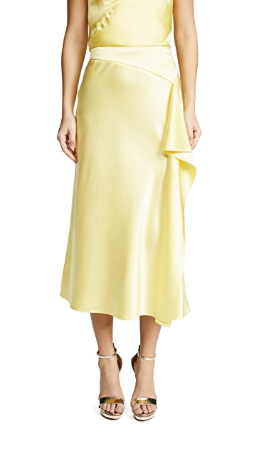 Cushnie Alma Charmeuse Pencil Skirt with Slit