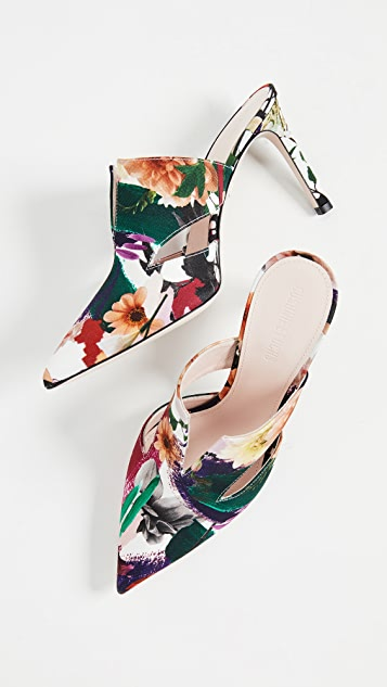 Cushnie Et Ochs Marcel Floral Print Mules with Triangle Cutouts