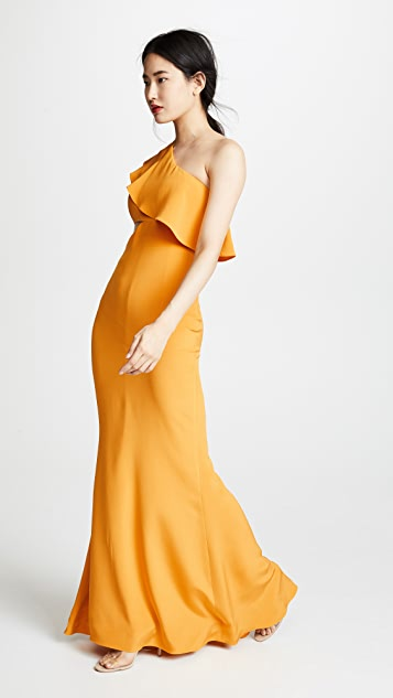 Cushnie Et Ochs Silk Gown with Sash & Cutout