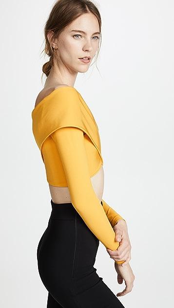 Cushnie Et Ochs Off Shoulder Long Sleeve Crop Top
