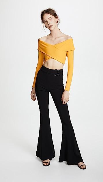 Cushnie Off Shoulder Long Sleeve Crop Top