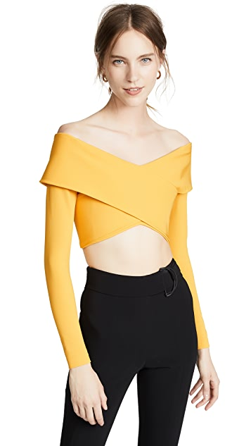 Cushnie Et Ochs Off Shoulder Long Sleeve Crop Top