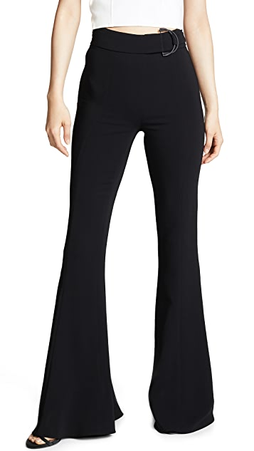 Cushnie High Waist Flare Pants with D Ring Buckle
