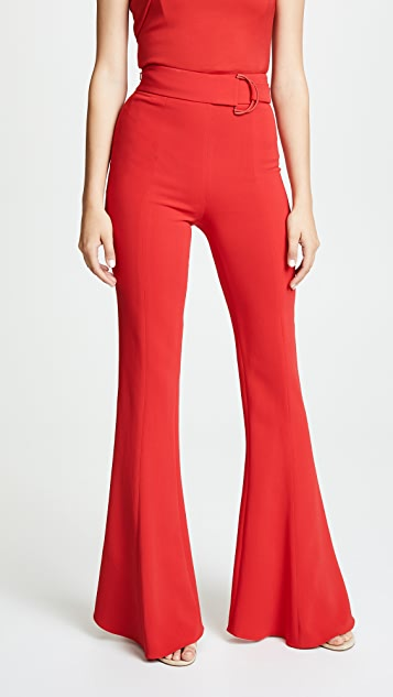 Cushnie High Waist Flares with D Ring Buckle