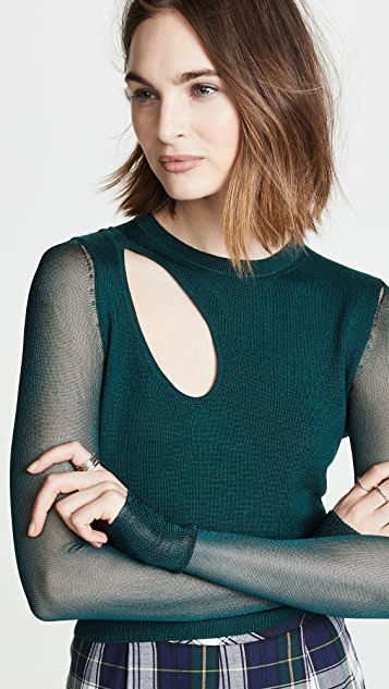 Cushnie Sheer Sleeve Top