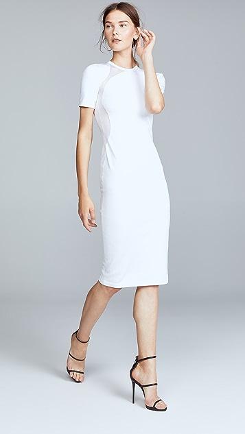 Cushnie Et Ochs White Gala Mesh Panel Dress