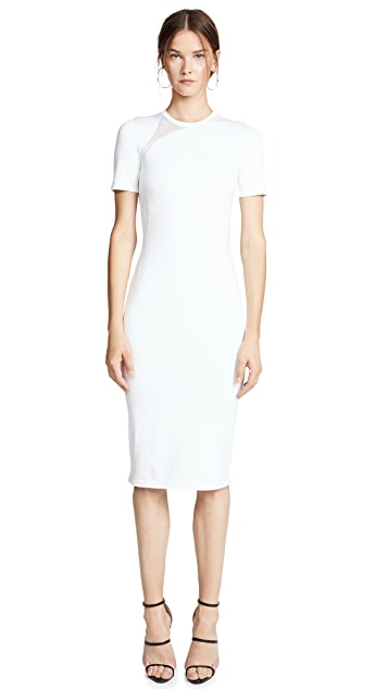 Cushnie White Gala Mesh Panel Dress