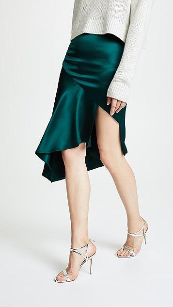 Cushnie Silk Skirt with Cascade Hem
