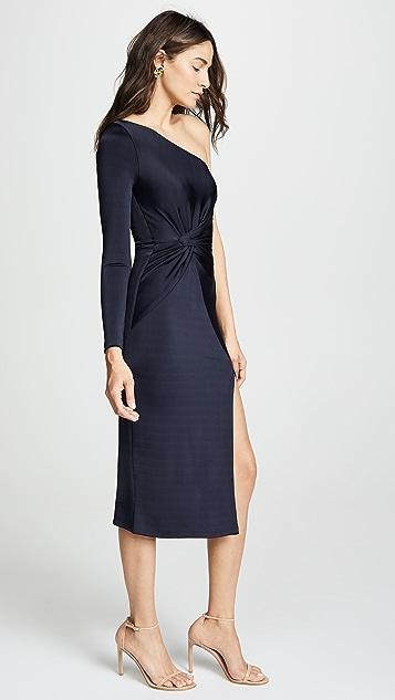 Cushnie One Shoulder LS Dress with Twist Detail