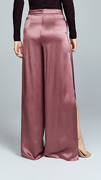 Cushnie High Waisted Wide Leg Pants with Side Slits