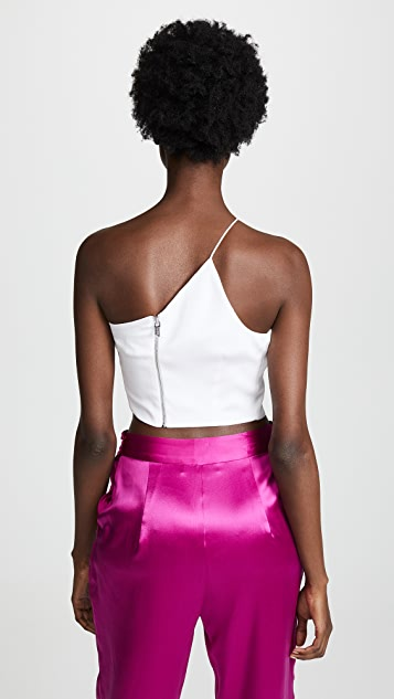 Cushnie One Shoulder Sleeveless Crop Top