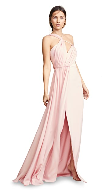Cushnie Sleeveless Gown with Draped Combo