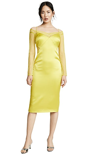 Cushnie Pencil Dress with Long Sleeve Lace Underlay