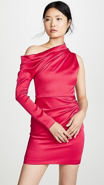 Cushnie Off Shoulder Single Sleeve Mini Dress
