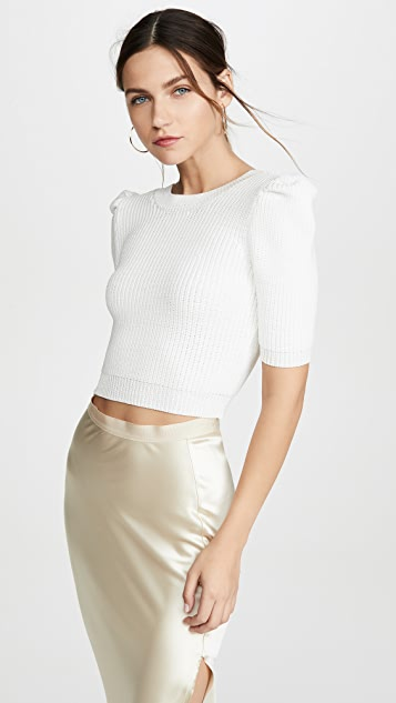 Cushnie Cropped Pleated Knit Top