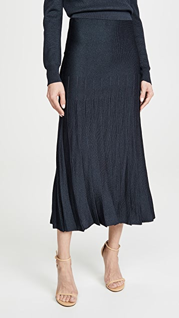 Cushnie High Waisted Pleated Knit skirt