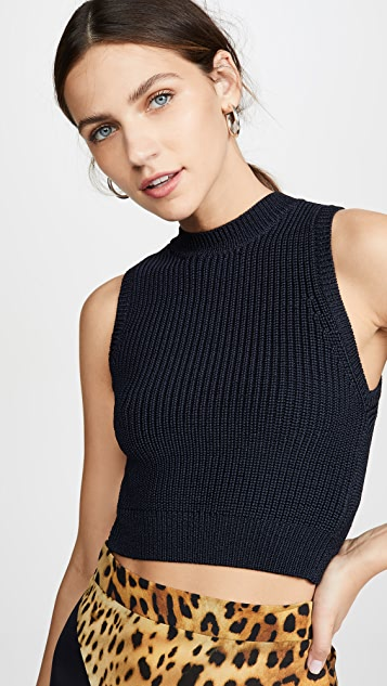Cushnie Sleeveless Cropped Knit Top with V at Back