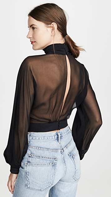 Cushnie High Neck Billowing Sleeve Blouse
