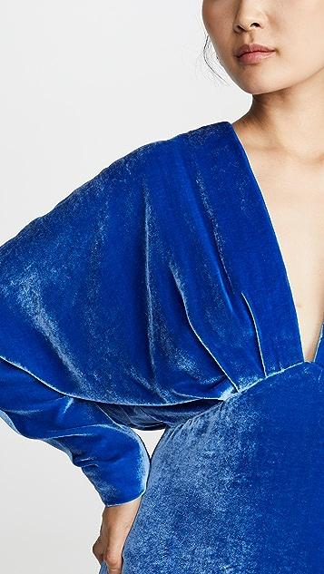 Cushnie Plunging Long Sleeve Blouson Mini Dress