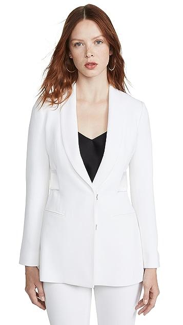 Cushnie 双层软缎饰带围巾式领夹克