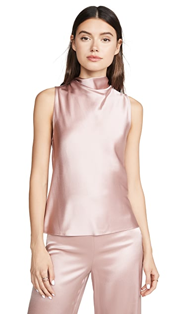 Cushnie High Neck Draped Tank
