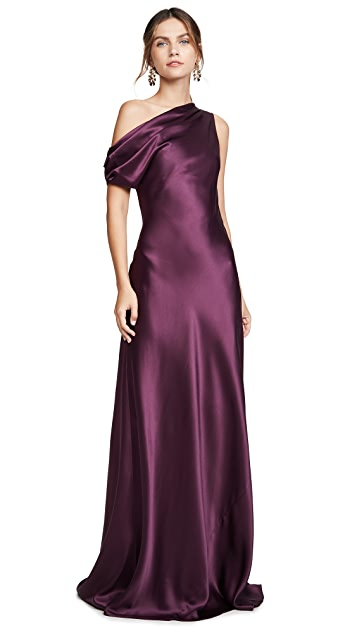 Cushnie Off the Shoulder Draped Sleeveless Gown