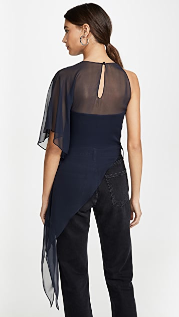 Cushnie One Shoulder Sheer Asymmetrical Top with Cascade