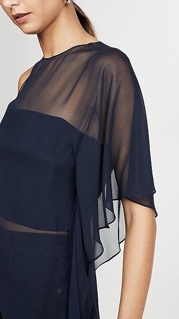 Cushnie One Shoulder Sheer Asymmetrical Top with Cascade