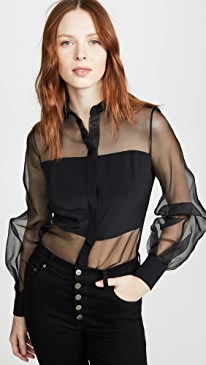 Button Down Sheer Blouse