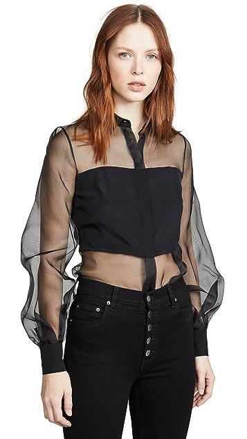 Cushnie 系扣轻薄女式衬衫
