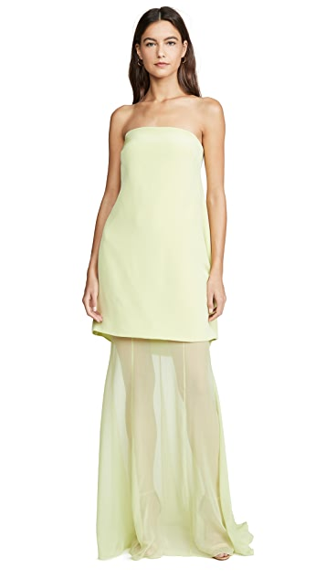 Cushnie Strapless Tiered Gown