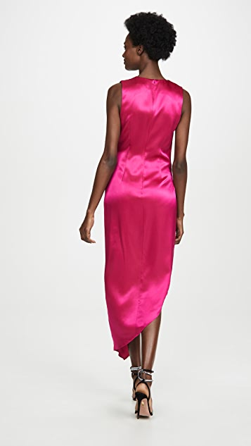 Cushnie Sleeveless Plunging Dress with Draped Bodice and Hem