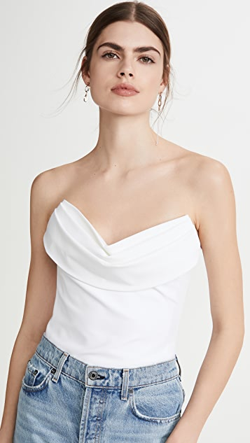 Cushnie Strapless Corset Top with Drape at Bust