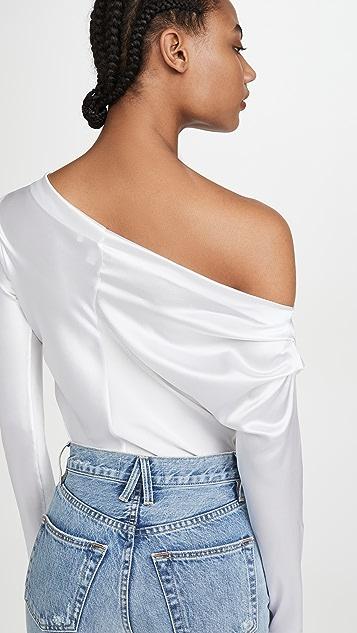 Cushnie Long Sleeved One Shoulder Drape Blouse