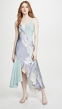 V Neck Slip Dress with Asymmetrical Style Lines