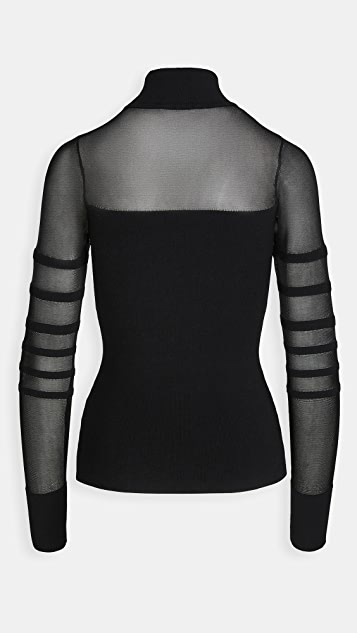 Cushnie Mock Neck Knit Top