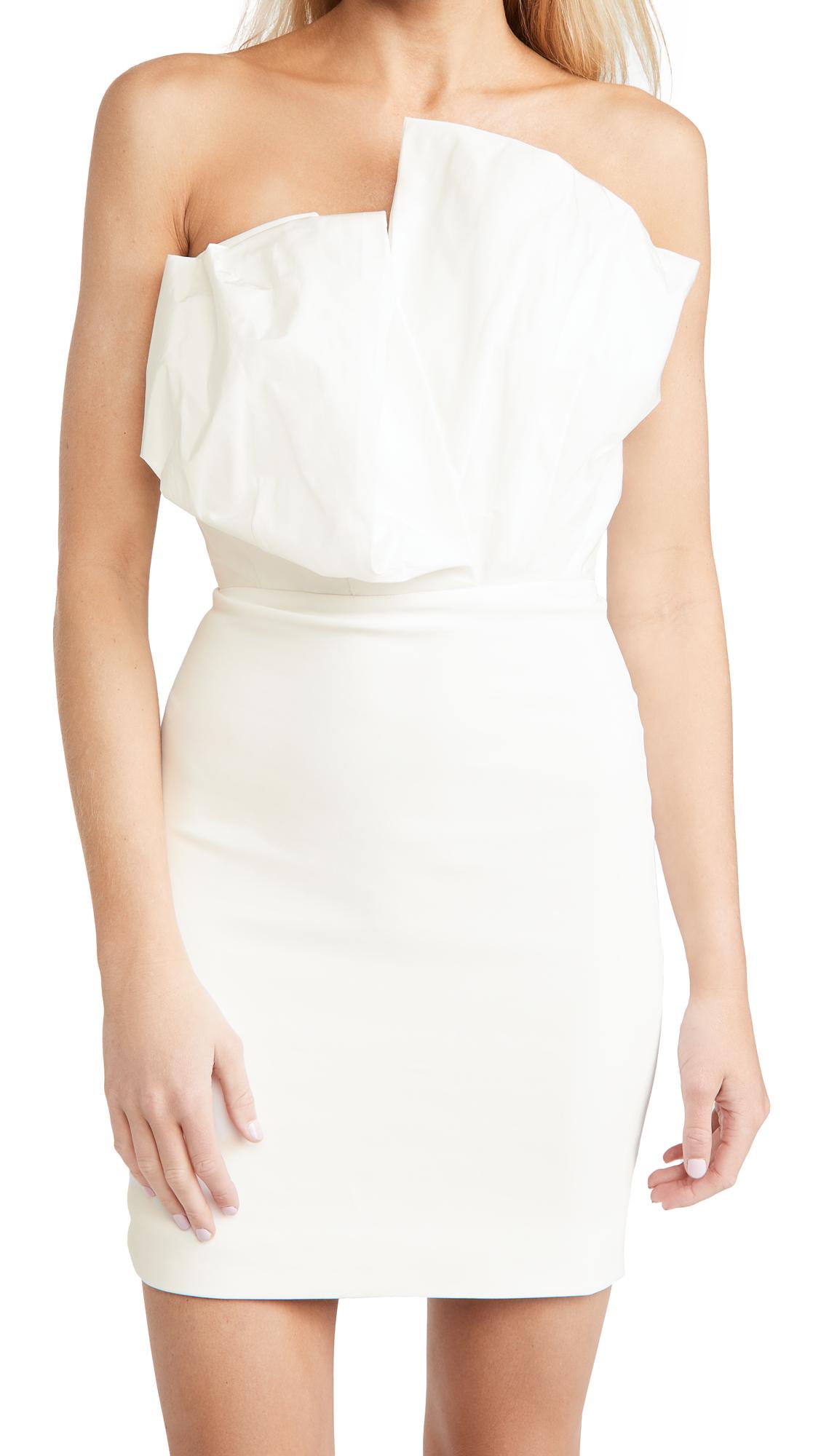 Cushnie Strapless Mini Dress with Folded Taffeta