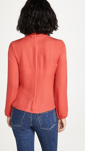 Cushnie 垂褶高领长袖女式衬衫