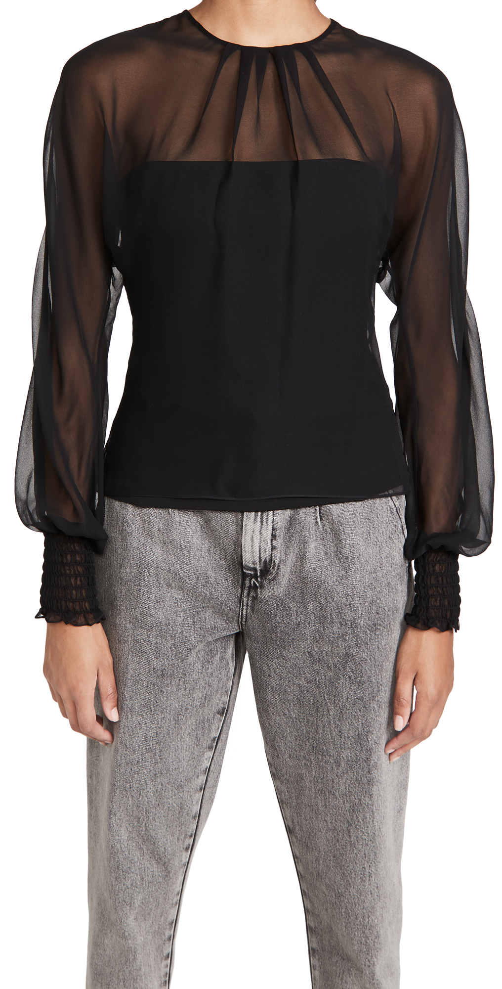 Cushnie Fitted Top with Chiffon Long Sleeve Over