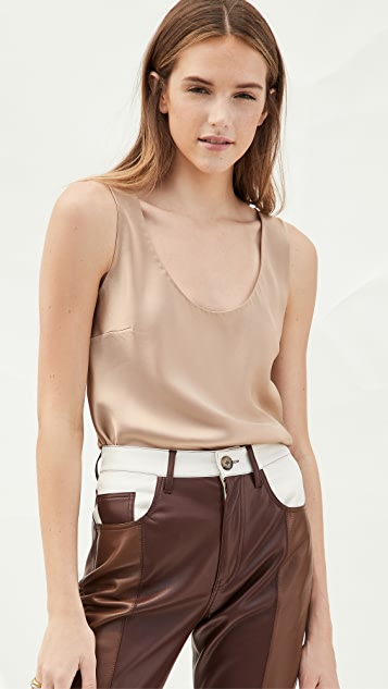 Cushnie Scoop Neck Tank with Cowl Back