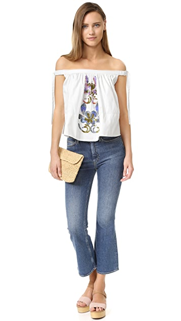 Cynthia Rowley Embellished Off Shoulder Top