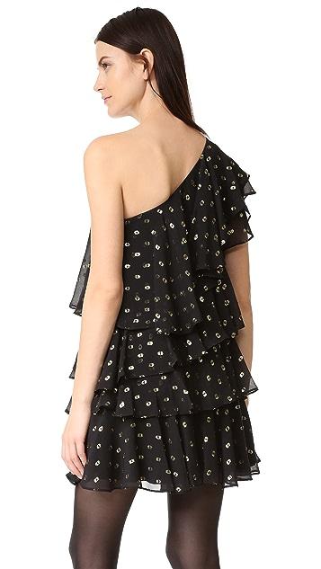 Cynthia Rowley Polka Dot One Shoulder Ruffle Dress