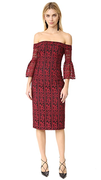 Cynthia Rowley Floral Stripe Lace Fitted Off Shoulder Dress