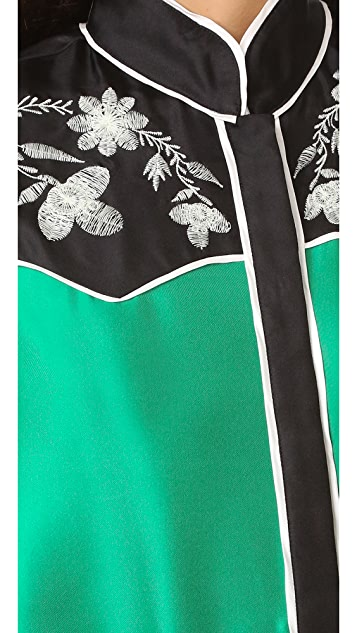 Cynthia Rowley Embroidered Yoke Silk Shirt