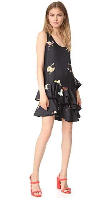 Cynthia Rowley Zodiac Print Multi Ruffle Dress